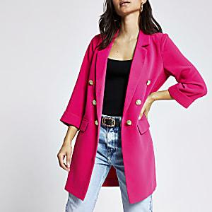 RI Petite - Roze lang jack met knopen voor