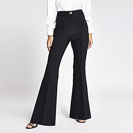 Black flare leg trousers