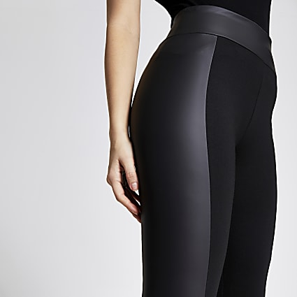 Black matte coated and ponte leggings