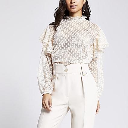 Petite cream sheer lace blouse