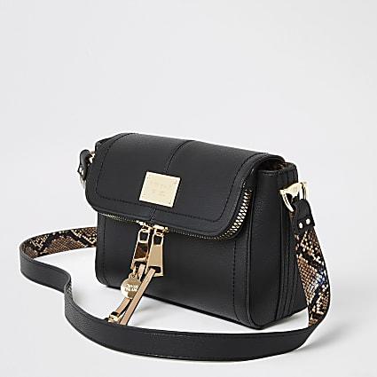 Black zip fold over cross body bag
