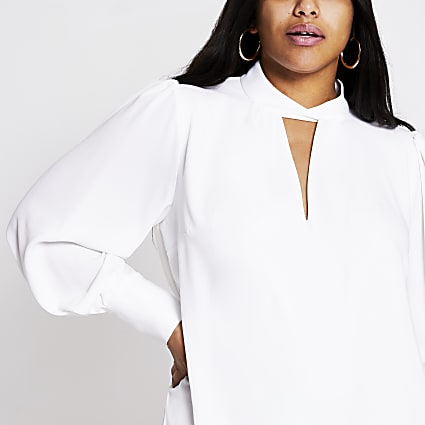 Plus white twisted V neck swing dress