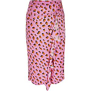 Plus –Jupe mi-longue nouée à imprimé rose