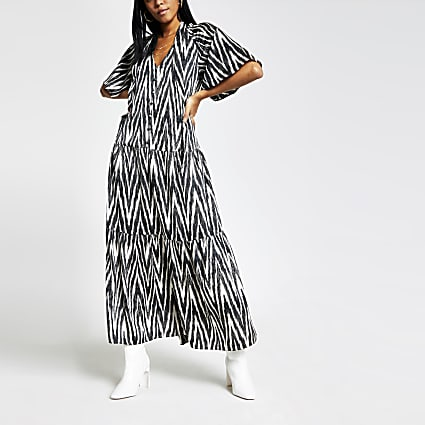Black printed flute sleeve midi tea dress