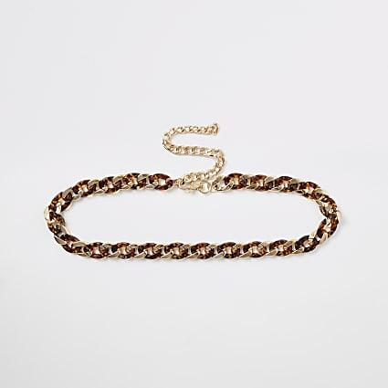 Gold colour tortoiseshell link chain belt