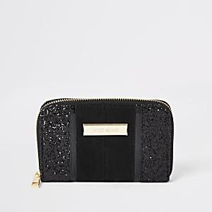 Zwarte glitter portemonnee met rits rondom