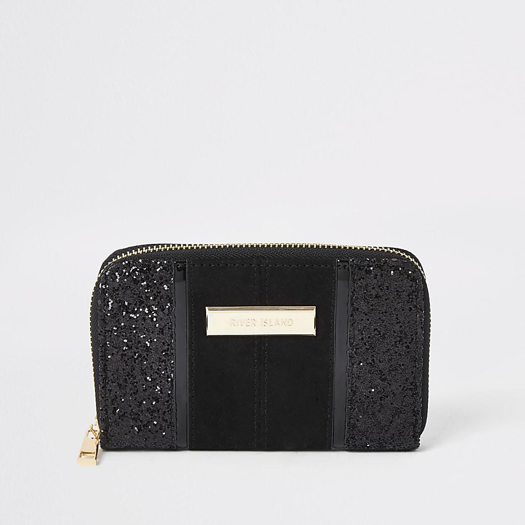 Petit portefeuille noir zippéà paillettes