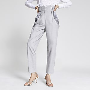 Pantalon taille haute avec poche à franges gris
