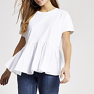 Petite – Weißes Schößchen-T-Shirt aus Popelin
