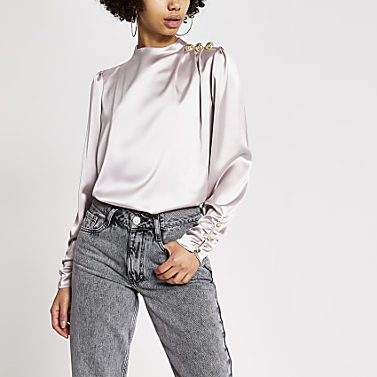 Lilac long ruched sleeve diamante top