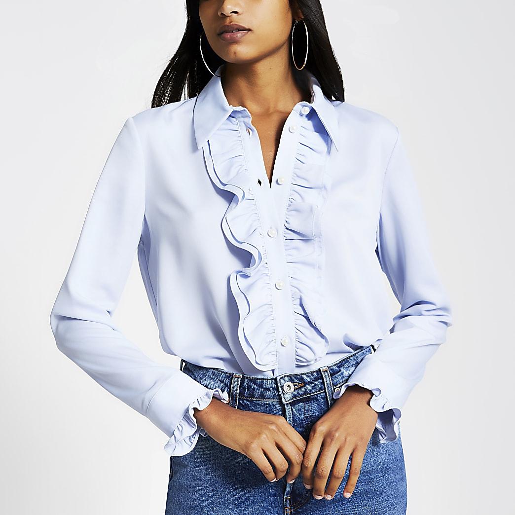 Light blue long sleeve frill shirt