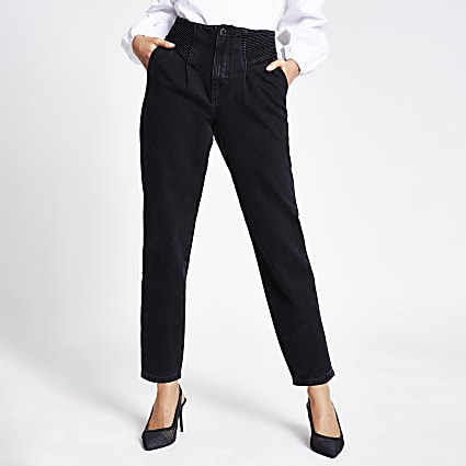Black tapered high rise jeans