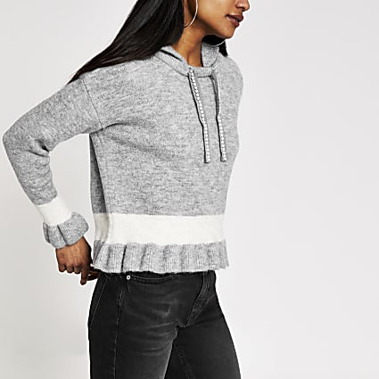 Petite grey frill cropped knitted hoodie