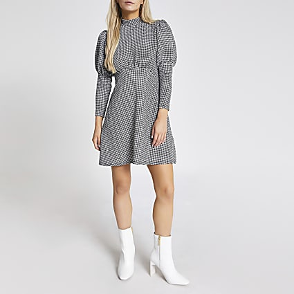 Petite black dogtooth puff sleeve mini dress