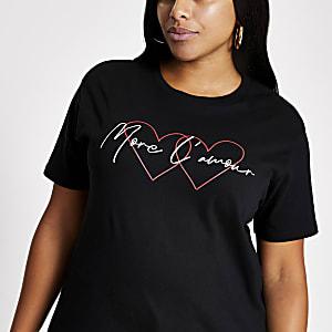 Plus black 'More l'amour' easy fit T-shirt