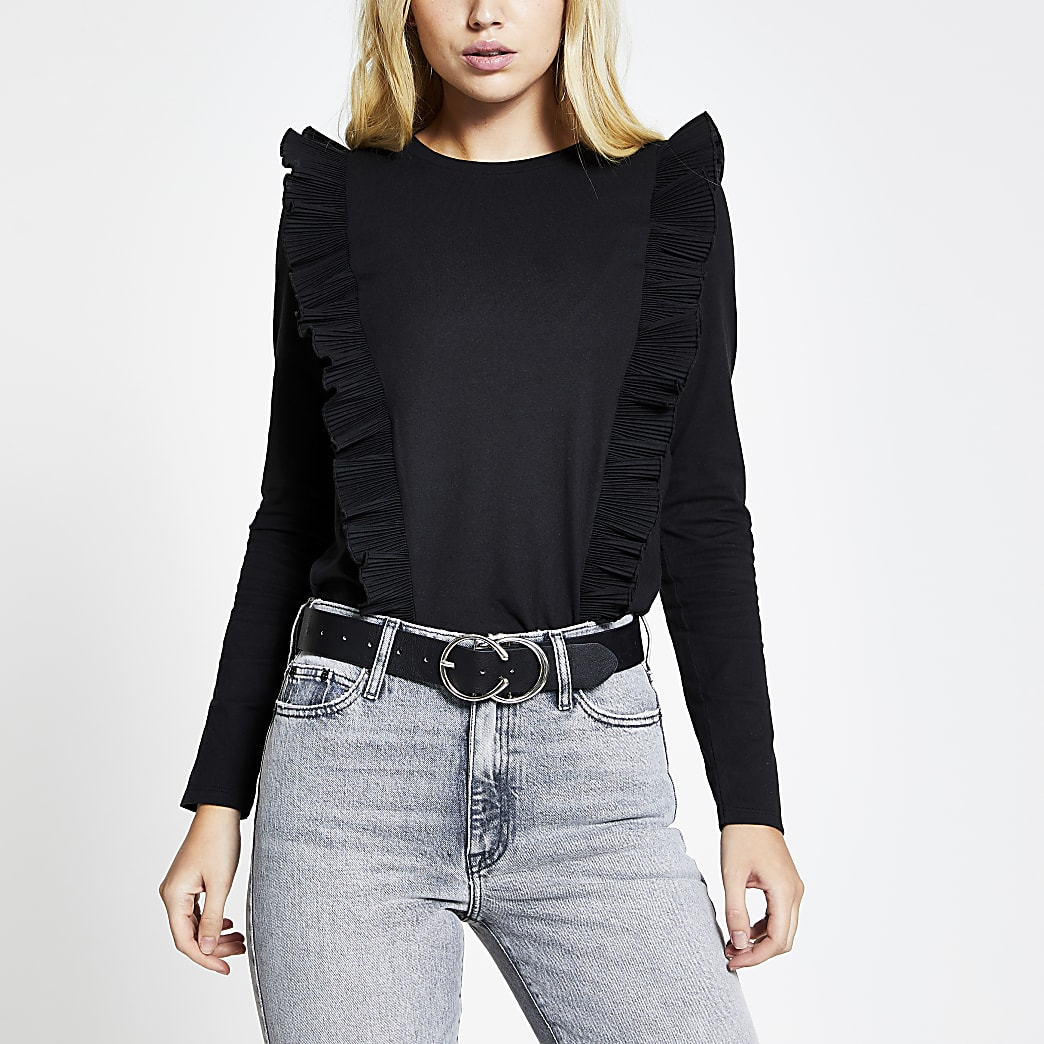 Black pleated ruffle long sleeve top