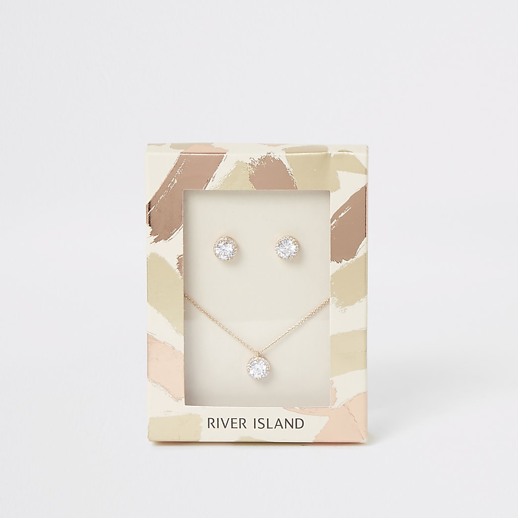 Gold colour diamante jewel necklace gift set