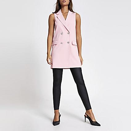 Pink sleeveless diamante button blazer
