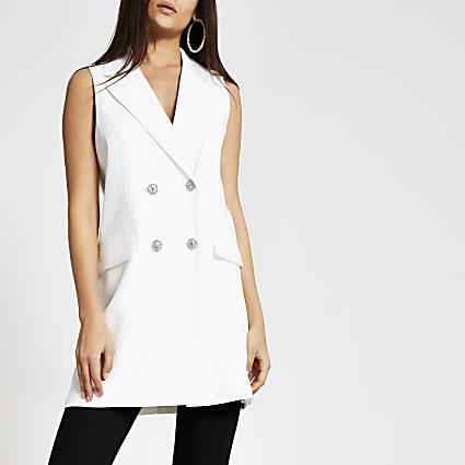 White sleeveless diamante button blazer