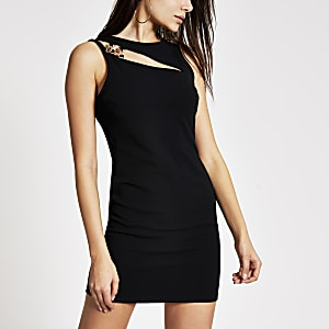 Black chain cutout mini bodycon dress