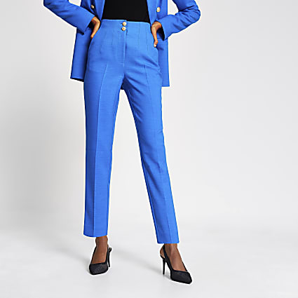 Blue double button cigarette trousers