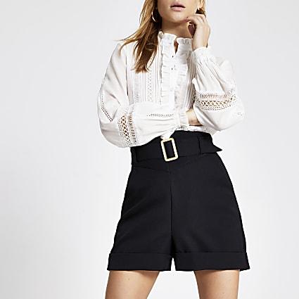 Black corset waist belted shorts