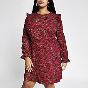 RI Plus - Rode mini-jurk met ruchemouwen en bloemenprint