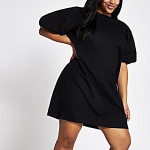 Plus – Schwarzes T-Shirt-Kleid mit Popeline-Puffärmeln