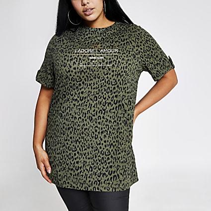 Plus khaki leopard print oversized T-shirt