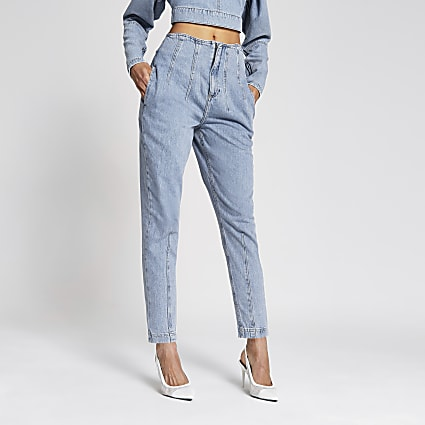 Light blue seam waist barrel leg jeans