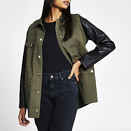 Khaki faux leather sleeve shacket