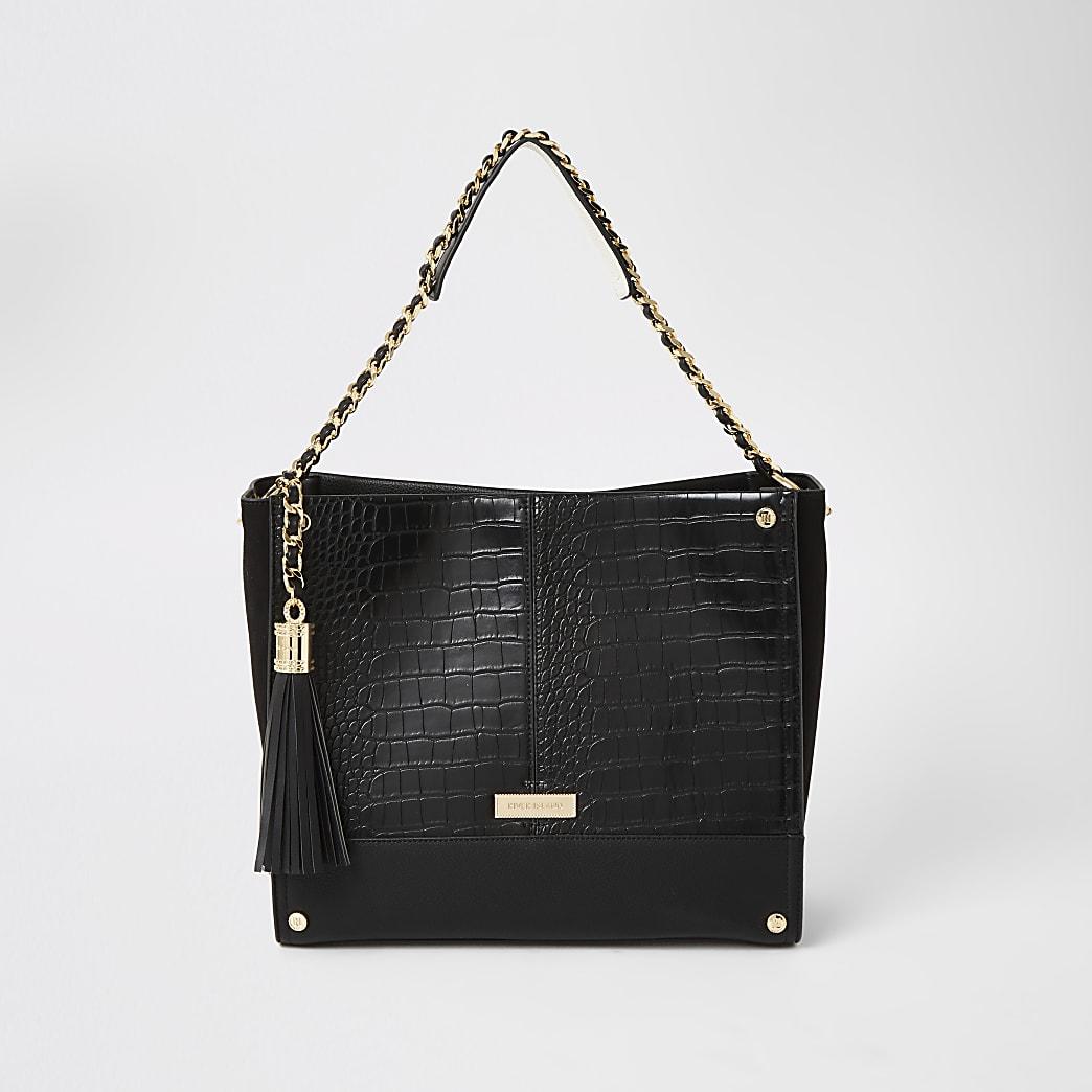 Black embossed chain strap shopper bag