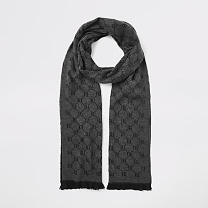 Grey RI monogram knitted scarf
