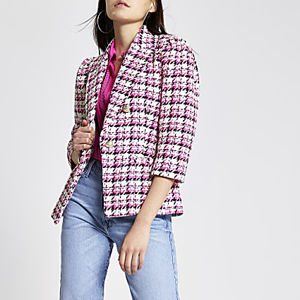 Pink check boucle puff sleeve blazer
