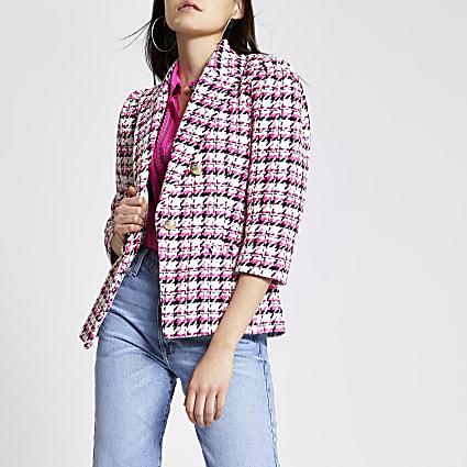 Pink check boucle puff sleeve blazer