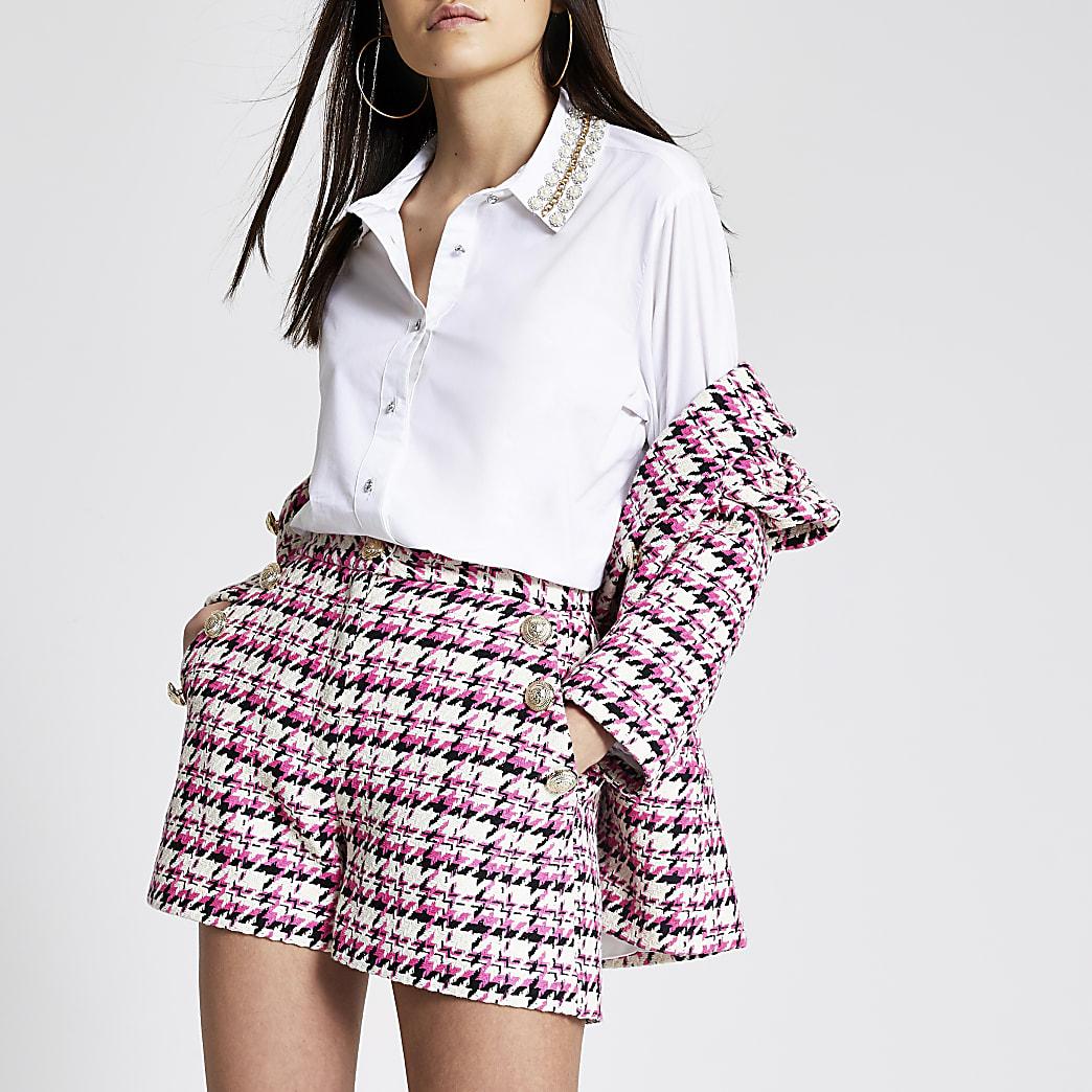 Pink boucle check high rise shorts