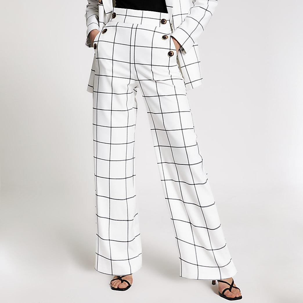 Cream check button front wide leg trousers