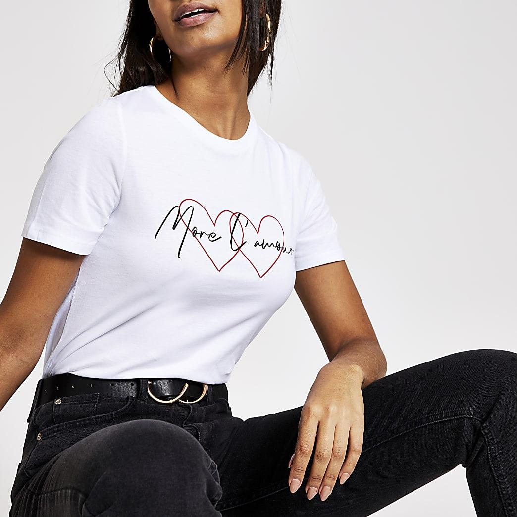 T-shirt blanc« More l'amour » à manches courtes