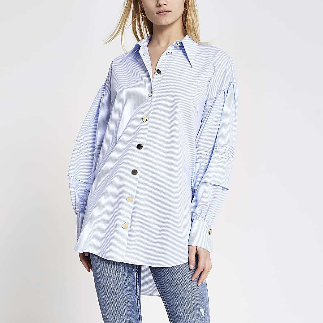 Blue stripe puff frill sleeve longline shirt