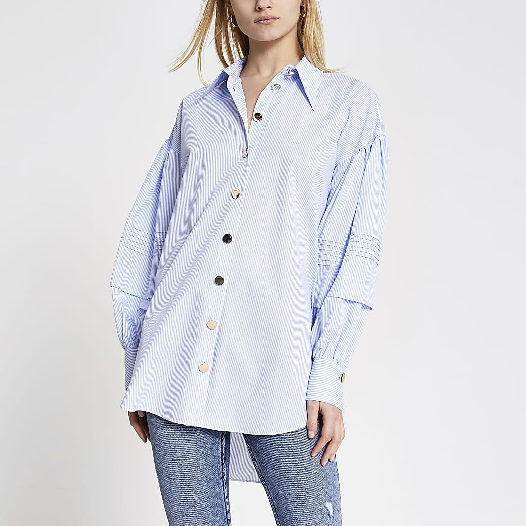 Blauw lang gestreept overhemd met ruche pofmouwen