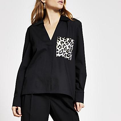 Black leopard print pocket long sleeve shirt