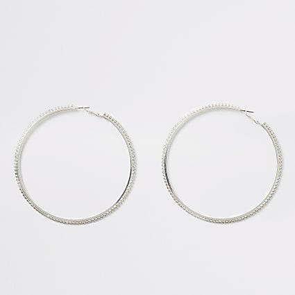 Silver colour diamante large hoop earrings