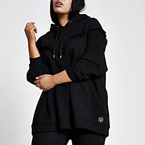 RI Plus - Zwarte geribbelde hoodie met ruches in V-vorm