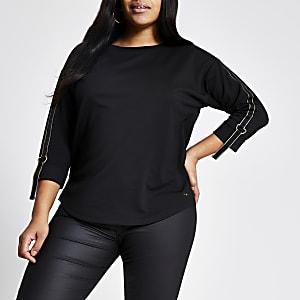 Plus – T-shirt noir à manches longues avec bande métallisée