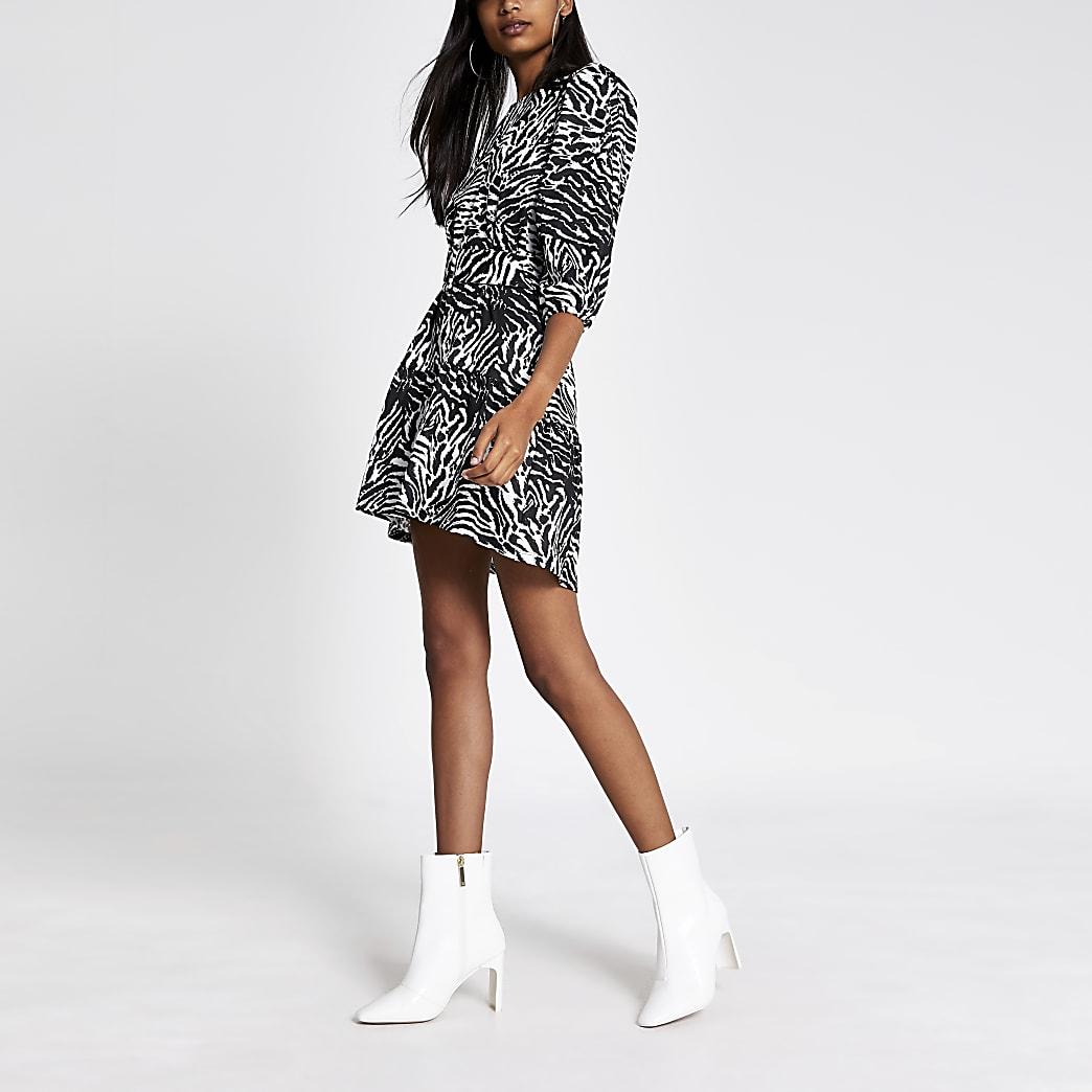 Black printed puff sleeve belted mini dress