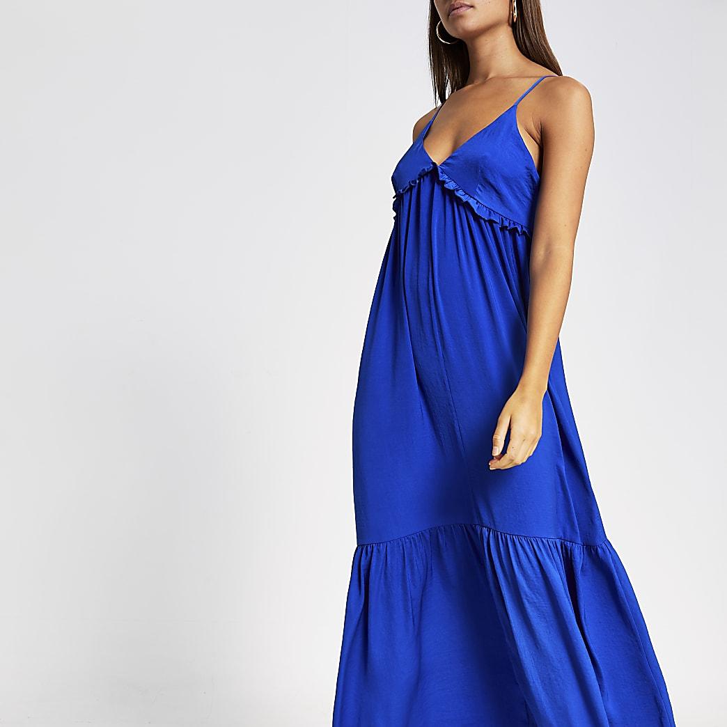 Blauwe cami maxi-jurk met ruches en V-hals