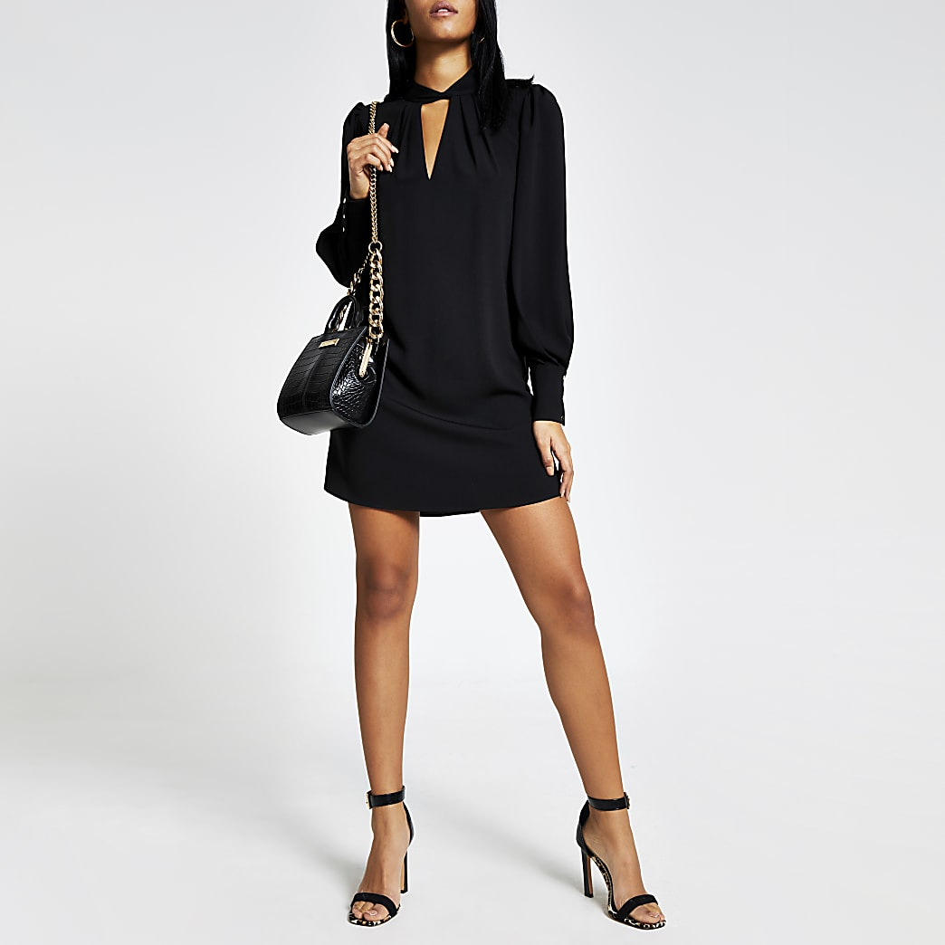 Black twisted V neck mini swing dress