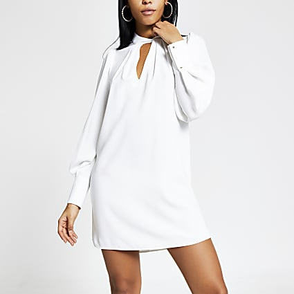 White twisted V neck mini swing dress