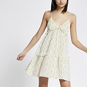Yellow ditsy print mini swing dress