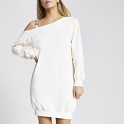 Petite cream one shoulder sweatshirt dress